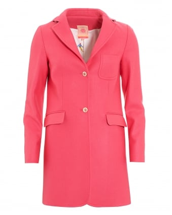 Womens Wool Blend Pink Oxford Coat