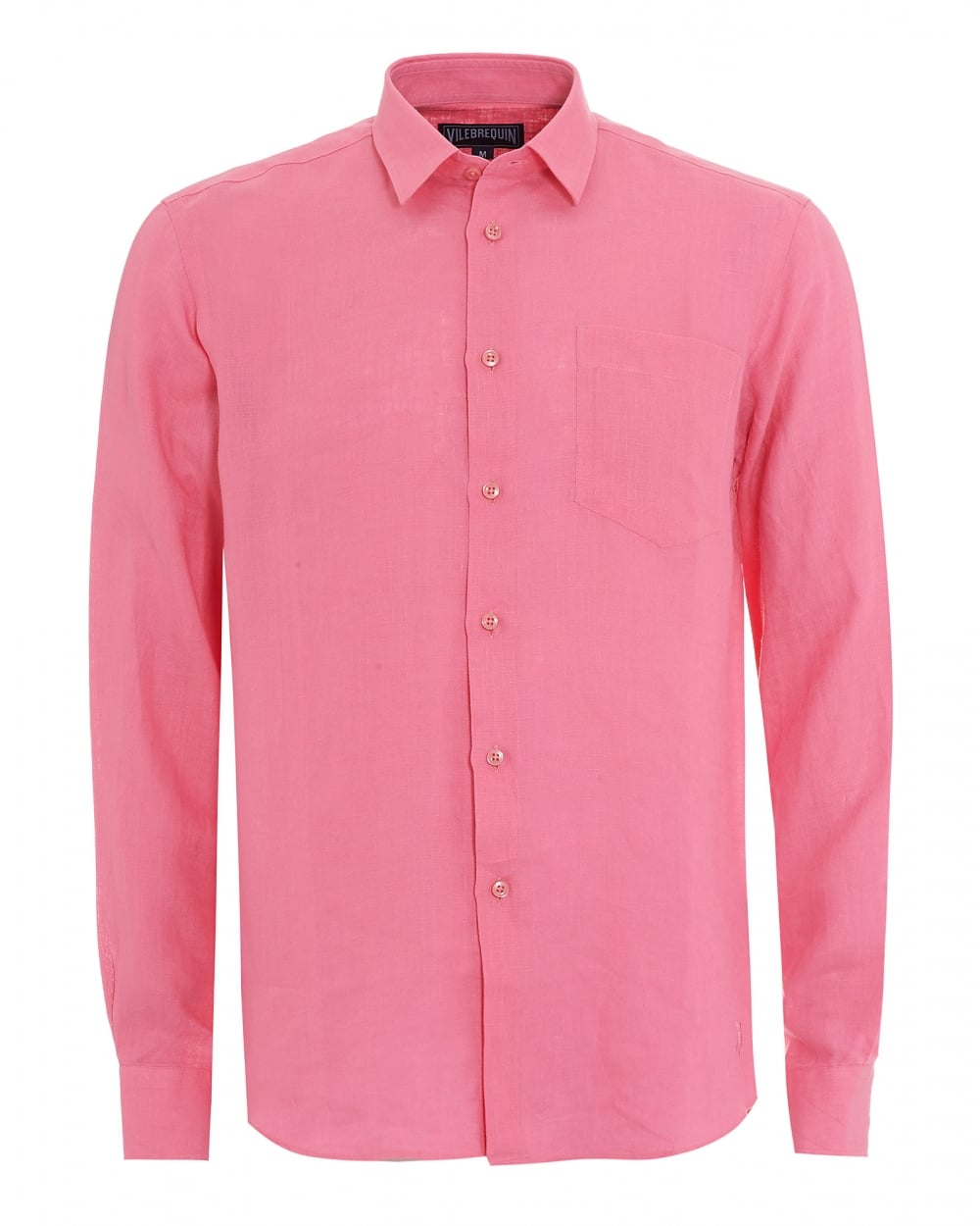 Vilebrequin mens long sleeve pink linen regular fit shirt for Men s regular fit shirts