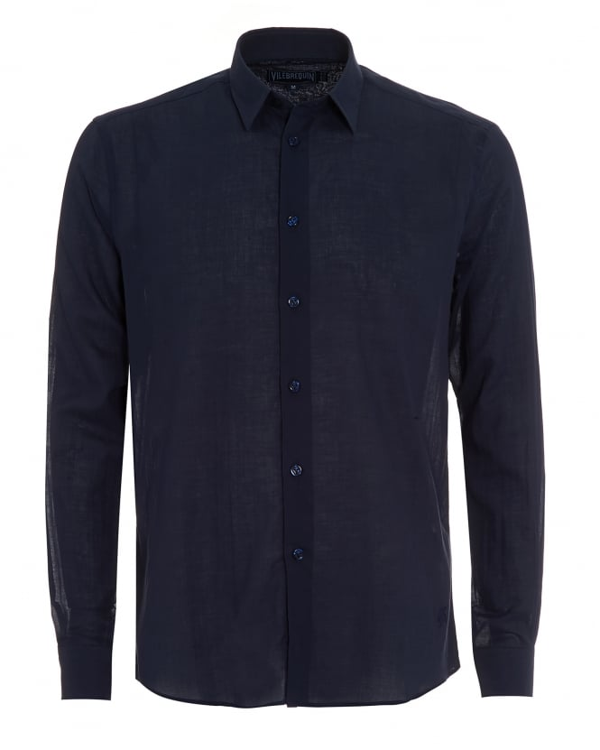 Vilebrequin Mens Long Sleeve Plain Navy Blue Shirt
