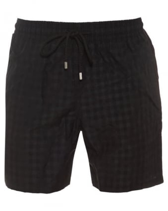 Mens Moorea Swim Shorts Black Cameo Checks Print Short