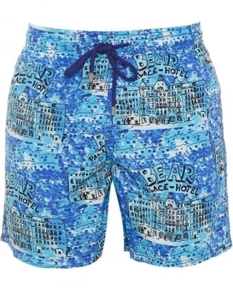 Mens Moorea Swim Shorts Blue Bear Hotel Print Swimwear
