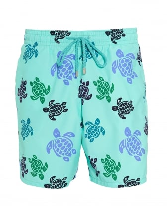 Mens Moorea Swim Shorts, Blue Large Turtle Print Swimming Trunks
