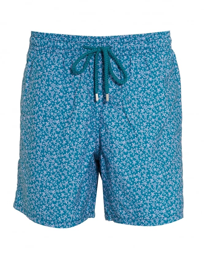 9cd2e8c7c8 Vilebrequin Mens Moorea Swim Shorts, Blue Micro Turtle Print Swimming Trunks