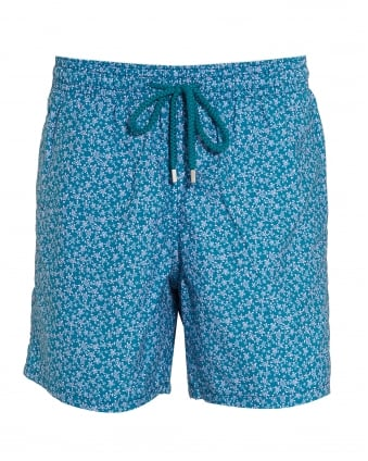 Mens Moorea Swim Shorts, Blue Micro Turtle Print Swimming Trunks