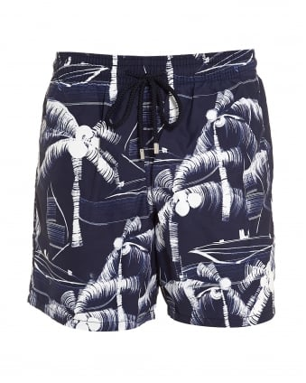 Mens Moorea Swim Shorts, Blue White Palm Tree Swimming Trunks