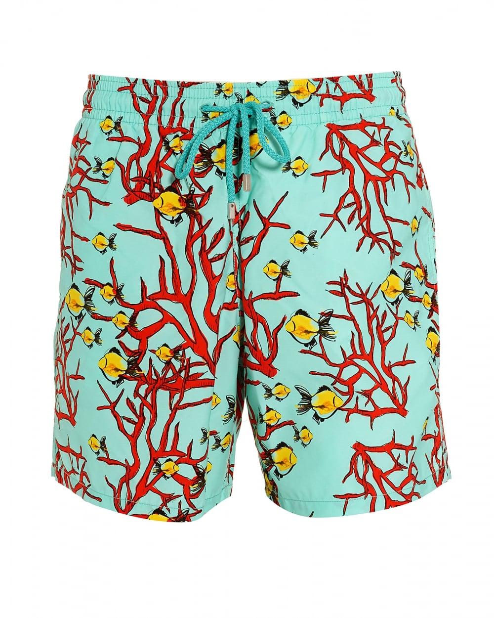72d68289e4 Mens Moorea Swim Shorts, Lagoon Blue Coral Fish Swimming Trunks