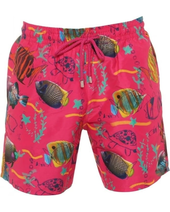 Vilebrequin Mens Moorea Swim Shorts Moon Fish Print Shocking Pink Shorts