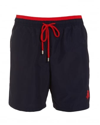 Mens Moorea Swim Shorts, Navy Blue Red Swimming Trunks