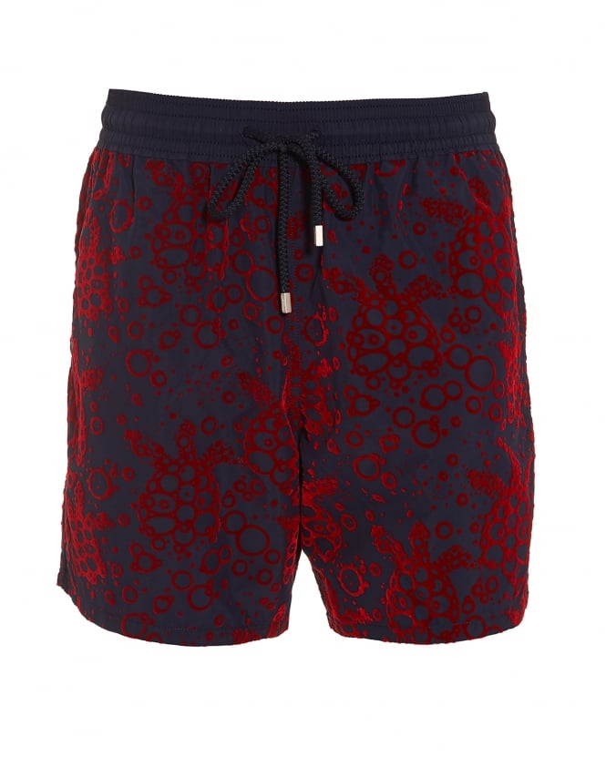 Vilebrequin Mens Moorea Swim Shorts, Navy Red Bubble Turtles Swimming Trunks