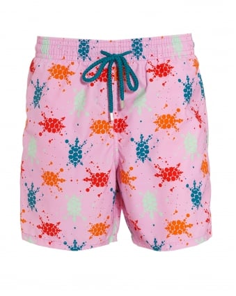 Mens Moorea Swim Shorts, Pink Quartz Turtle Splodge Swimming Trunks