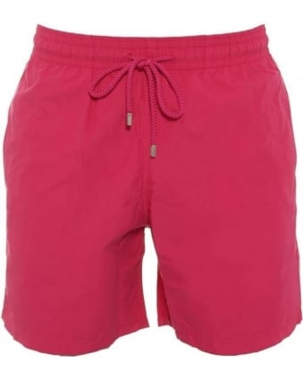 Mens Moorea Swim Shorts Plain Shocking Pink Swimwear