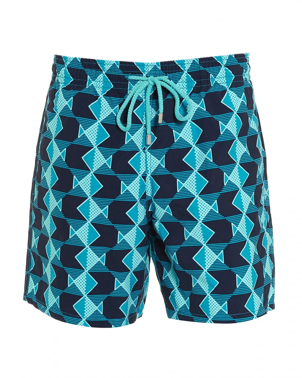 e2a0e7d904 Mens Moorea Swim Shorts, Prussian Blue Navy Geometric Fish Swimming Trunks