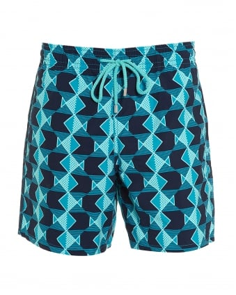 Mens Moorea Swim Shorts, Prussian Blue Navy Geometric Fish Swimming Trunks