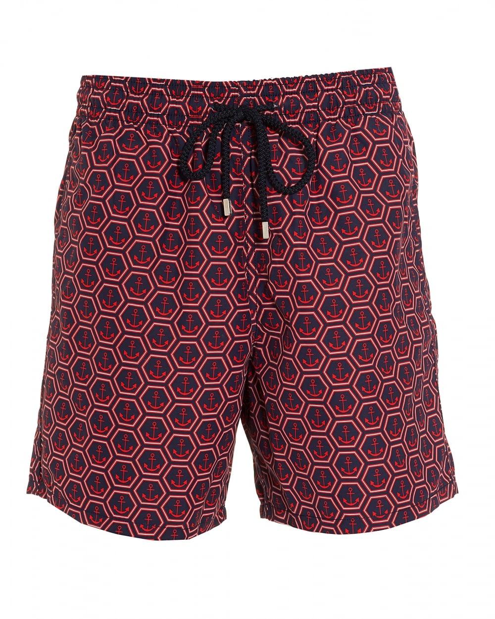 31c10399ffe8d Vilebrequin Mens Moorea Swim Shorts, Red Navy Anchors Print Swimming