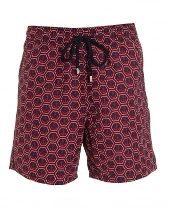 Mens Moorea Swim Shorts, Red Navy Anchors Print Swimming Trunks
