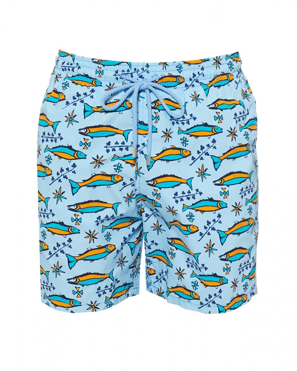 3c4b097fc8 Vilebrequin Mens Moorea Swimshort, Blue Sardine Print Swimming Trunks