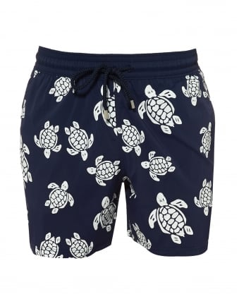 Mens Moorice Swimshorts, Navy Glow in the Dark Turtle Swimming Trunks