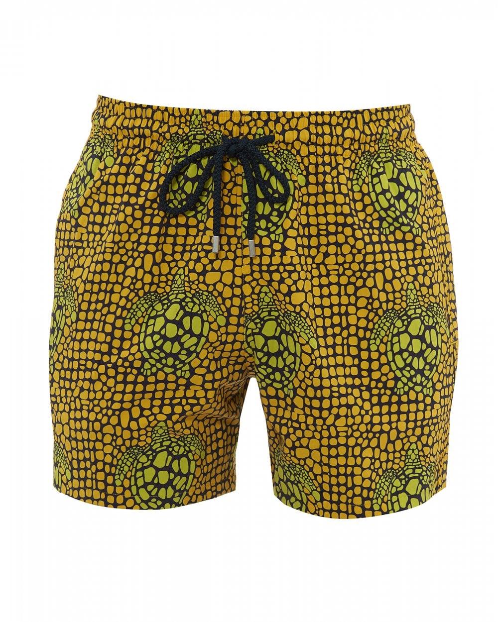7e89e777b9 Mens Moorise Shell Turtles Swimshorts, Yellow Stretch Swimming Trunks
