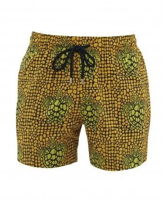 6799e7d647 Mens Moorise Shell Turtles Swimshorts, Yellow Stretch Swimming Trunks