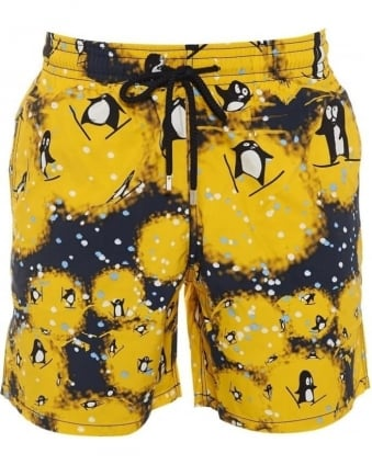 Mens Swim Shorts Happy Penguins Moorea Navy Yellow Short