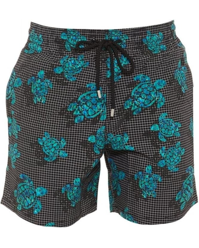 Vilebrequin Mens Swim Shorts Moorea Black Turquoise Turtle Reflection