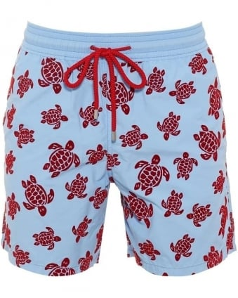 Mens Swim Shorts Moorea Sky Blue Red Flock Turtle Shorts