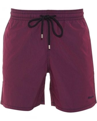 Mens Swim Shorts Morio Red Navy Micro Stripe Swim Short
