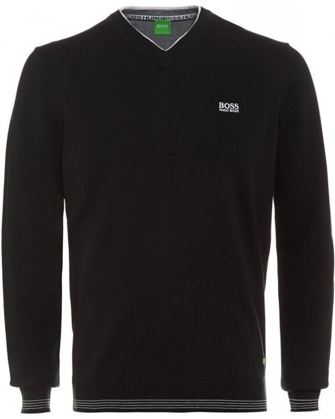 Hugo Boss Green Vime_FW15 Black Piped Detail V-Neck Jumper