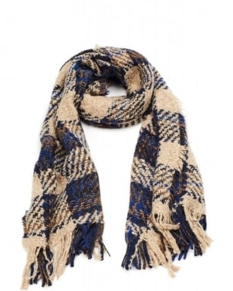 Knitted Cream Blue Mohair Plaid Tartan Fringe Scarf