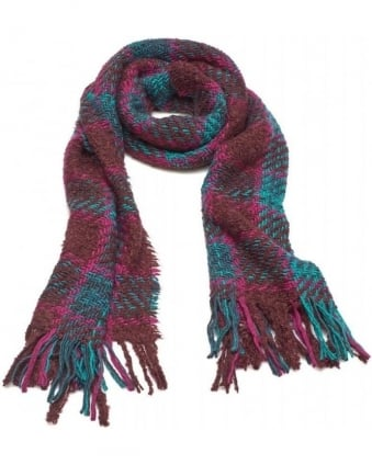 Knitted Mohair Plaid Tartan Fringe Scarf