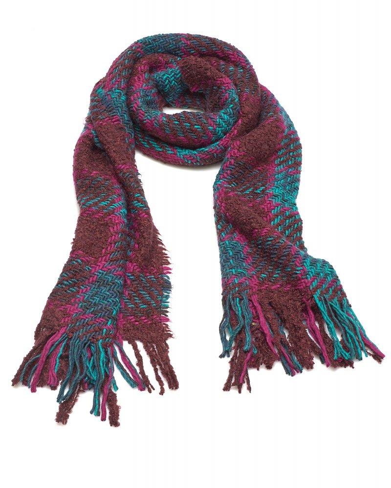 Knitting Pattern Tartan Scarf : Vivienne Westwood Anglomania Knitted Mohair Plaid Tartan Fringe Scarf