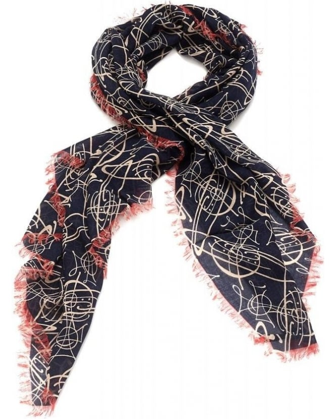 Vivienne Westwood Anglomania Navy Graffiti Orb Print Scarf
