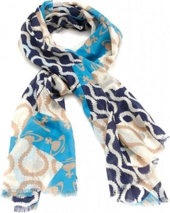 Navy Squiggle Print Scarf