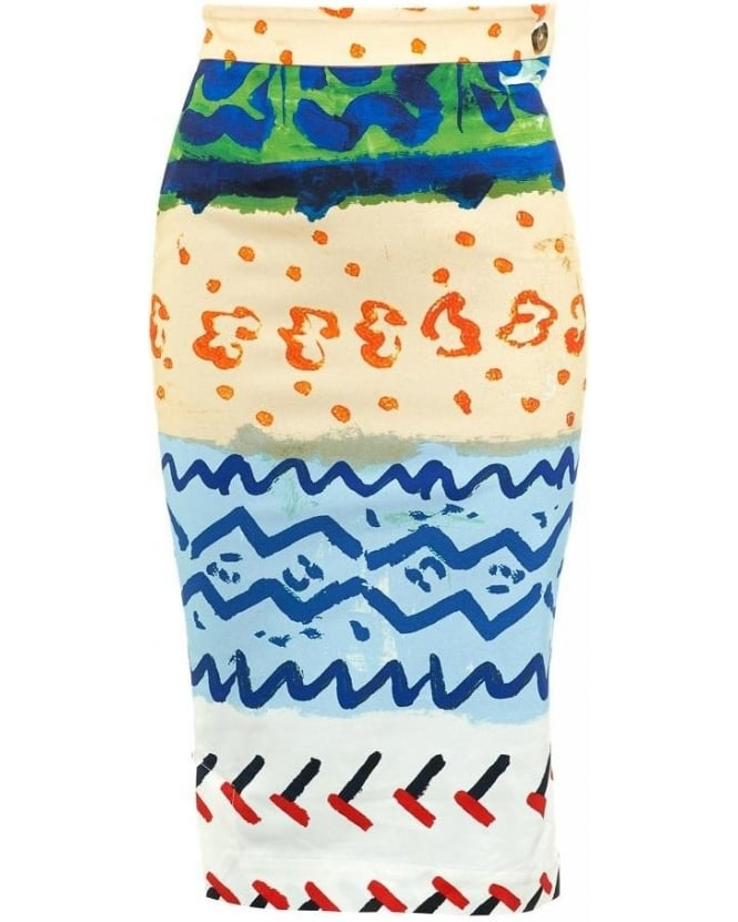 Vivienne Westwood Anglomania Paradise Pencil Skirt Multi Coloured Skirt