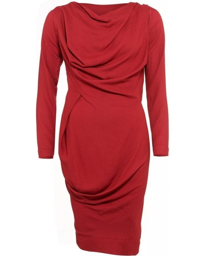 Vivienne Westwood Anglomania Red Draped, Long Sleeve Ruched Crepe Dress