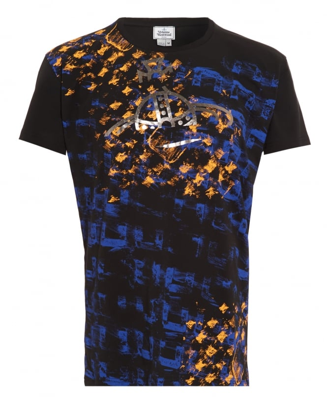 Vivienne Westwood Man Abstract Print Slim Fit Black T-Shirt