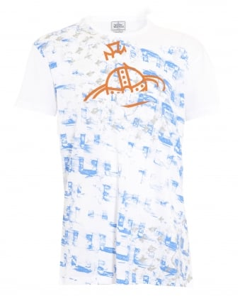 Abstract Print Slim Fit White T-Shirt
