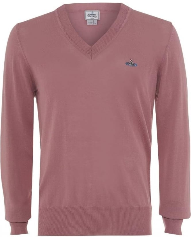 Vivienne Westwood Man Jumper V-Neck Slim Fit Pink Knit