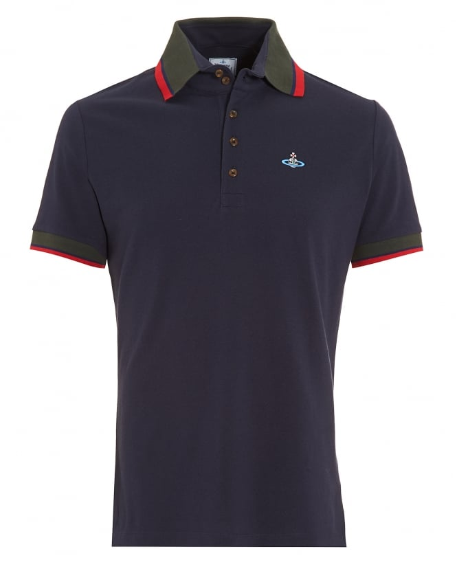 Vivienne Westwood Man Krall Polo Shirt, Navy Blue Tipped Polo