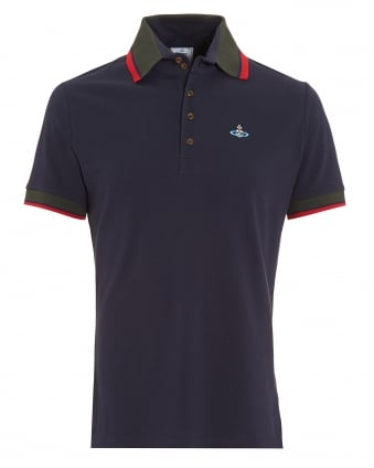 Krall Polo Shirt, Navy Blue Tipped Polo