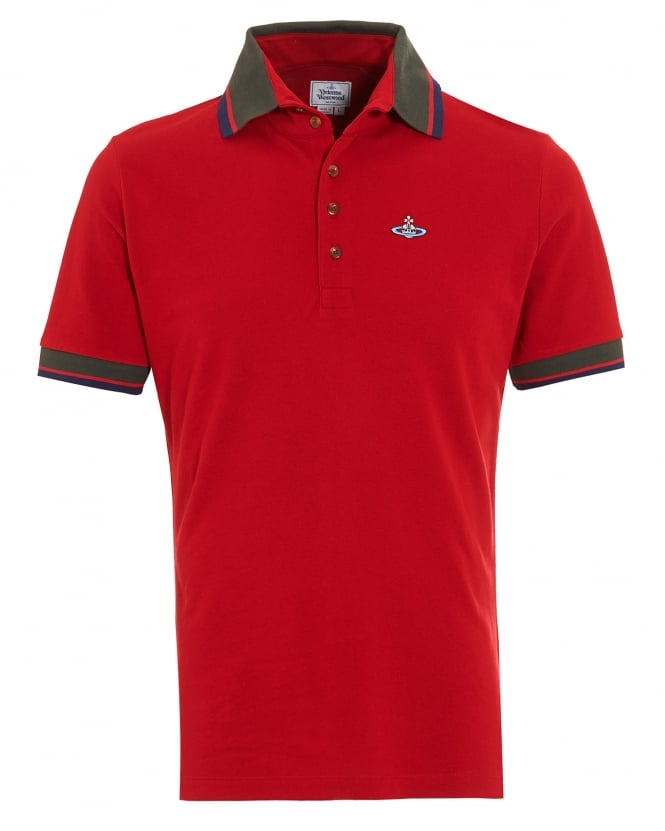Vivienne Westwood Man Krall Polo Shirt, Slim Fit Red Tipped Polo