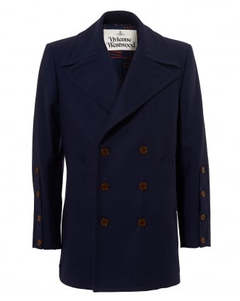 Mens Back Belted Pea Coat, Double-Breasted Navy Jacket