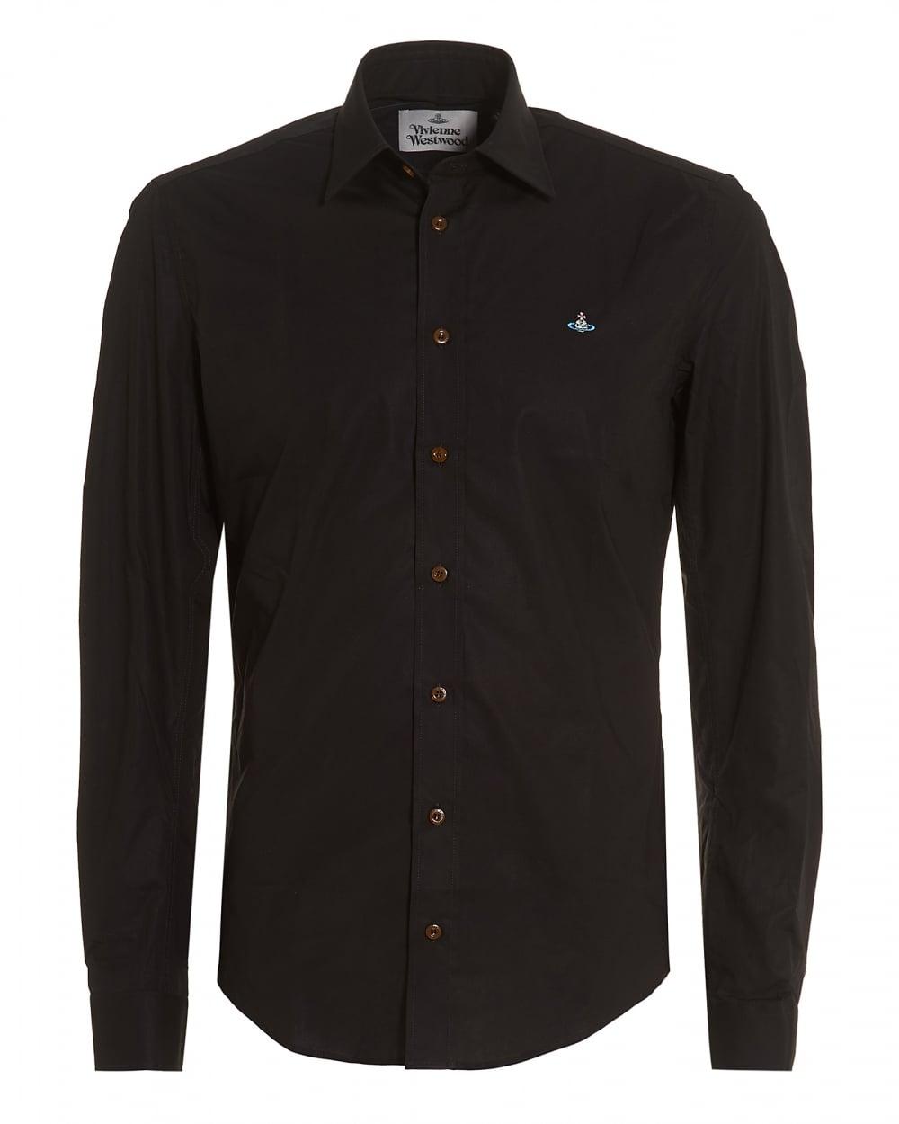 f67291da6089 Vivienne Westwood Mens Black Slim-Fit Stretch Cotton Orb Logo Shirt