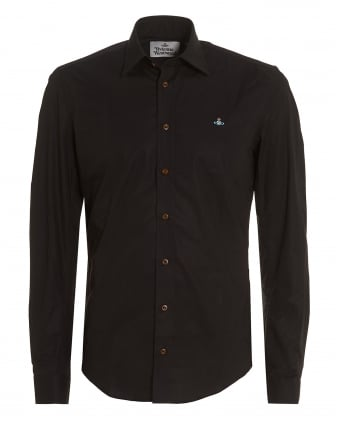 Mens Black Slim-Fit Stretch Cotton Orb Logo Shirt
