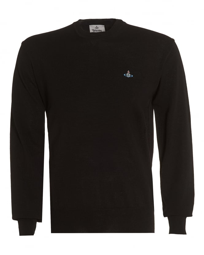 Vivienne Westwood Man Mens Black Slim-Fit Wool Orb Logo Jumper