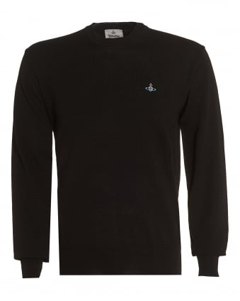 Mens Black Slim-Fit Wool Orb Logo Jumper