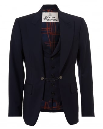 Mens Built-In Waistcoat Blazer, Navy Blue Jacket