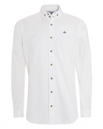 Mens Button Down Plain Regular Fit White Shirt