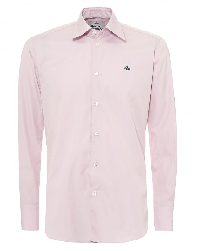 Vivienne Westwood Man Mens Chest Orb Shirt, Regular Fit Pink Shirt