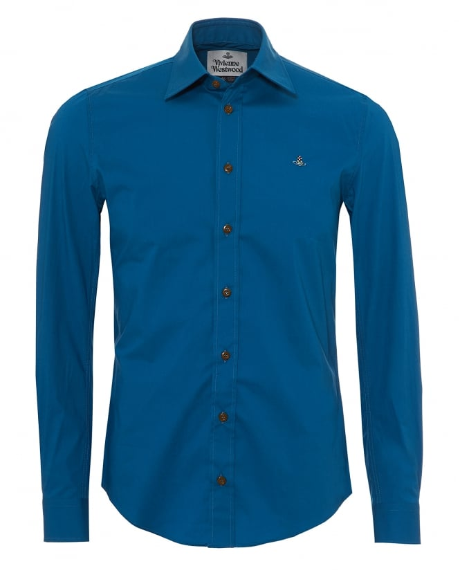 Vivienne Westwood Man Mens Classic Stretch Shirt, Regular Fit Blue Morocco Shirt